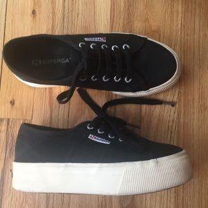 Superga Platform Sneakers - black - size 7.5